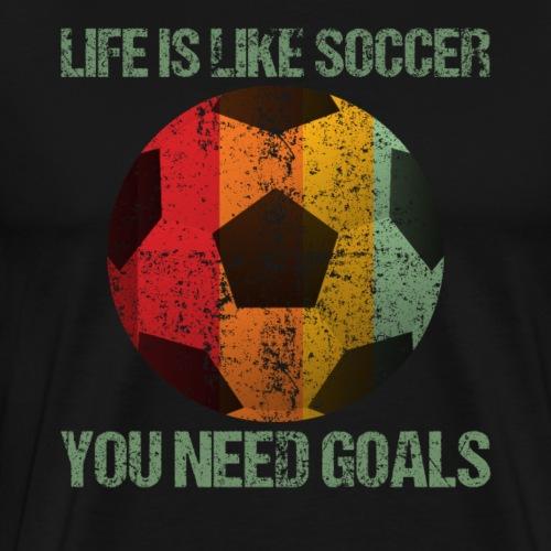 Life Is Like Soccer Retro Style - Men's Premium T-Shirt
