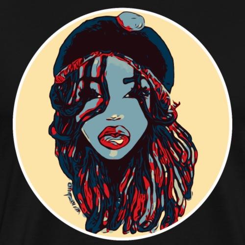 Rasta Reggae Dreads Locs Blue Natural Hair Queen - Men's Premium T-Shirt