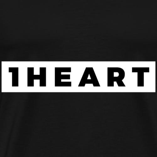 One Heart (Black/White Border) - Men's Premium T-Shirt