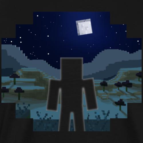 Mine Craft Landscape Night Outline - Men's Premium T-Shirt