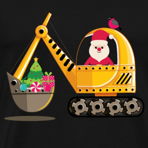 Santa Delivers Digger of Christmas Presents, Tree - Men's Premium T-Shirt