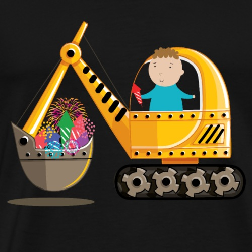 New Year Fireworks Excavator with Boy - Men's Premium T-Shirt