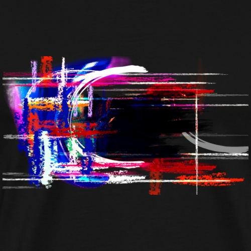 Blue and Red Grunge Paint Element - Men's Premium T-Shirt