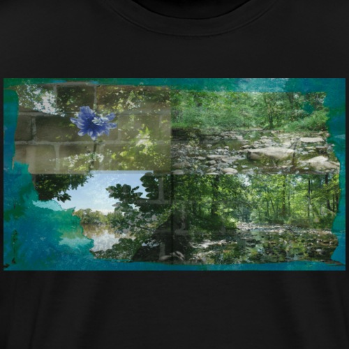 Cool Nature Forest River Collage - Men's Premium T-Shirt