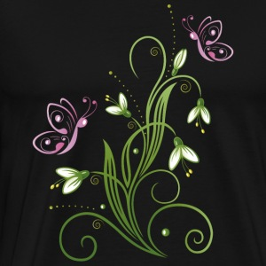Snowdrop Flowers with butterflies. - Men's Premium T-Shirt