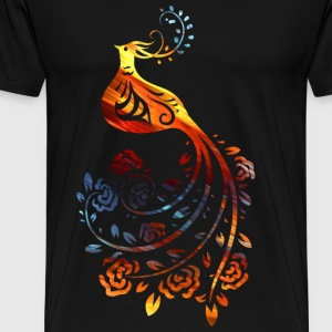 Colorful bird with Flower - Men's Premium T-Shirt