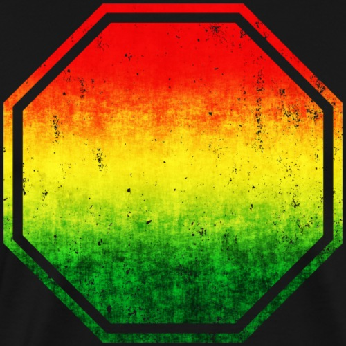 Distressed Rasta Colors Stop Sign - Add Your Text - Men's Premium T-Shirt