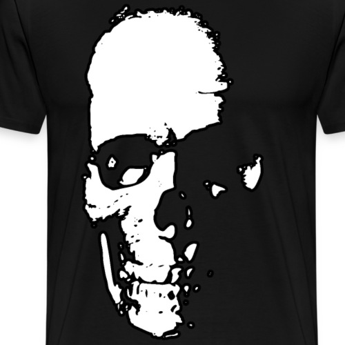 Partial Skull - white - black outline - Men's Premium T-Shirt