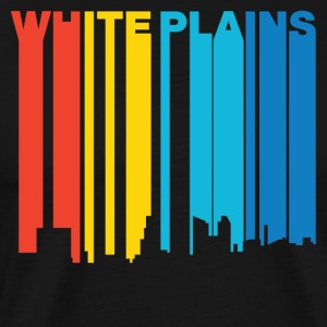 Retro 1970's Style White Plains New York Skyline - Men's Premium T-Shirt