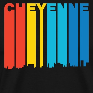 Retro 1970's Style Cheyenne Wyoming Skyline - Men's Premium T-Shirt
