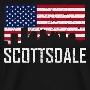 Scottsdale Arizona Skyline American Flag - Men's Premium T-Shirt