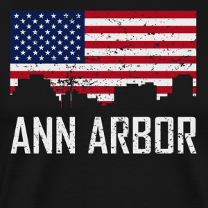 Ann Arbor Michigan Skyline American Flag - Men's Premium T-Shirt
