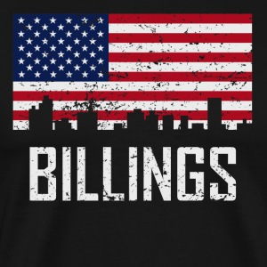 Billings Montana Skyline American Flag Distressed - Men's Premium T-Shirt