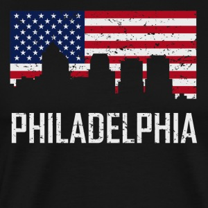 Philadelphia Pennsylvania Skyline American Flag - Men's Premium T-Shirt