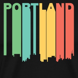Retro 1970's Style Portland Maine Skyline - Men's Premium T-Shirt