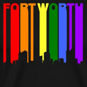 Fort Worth Texas Gay Pride Rainbow Skyline - Men's Premium T-Shirt