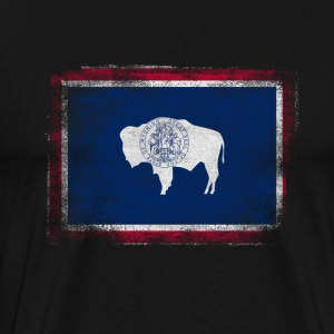 Wyoming State Flag Distressed Vintage Shirt - Men's Premium T-Shirt