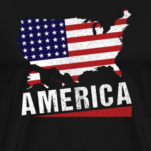 4th of July America Map Stars And Stripes - Men's Premium T-Shirt
