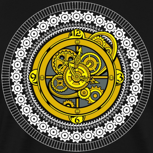 Fantasy Steampunk Mechanical Clock and Gears - Men's Premium T-Shirt