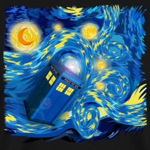Blue Phone Booth At Starry night - Men's Premium T-Shirt