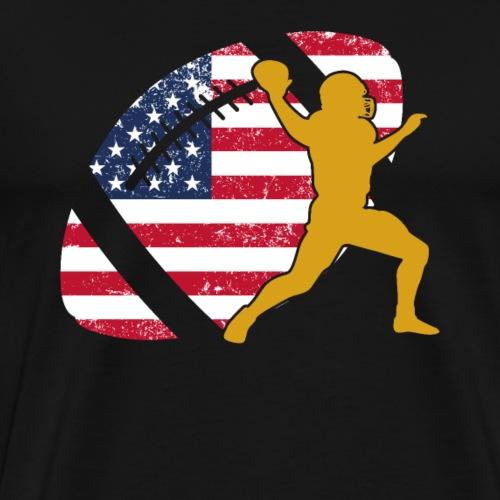 Quarterback Football America Flag - Men's Premium T-Shirt