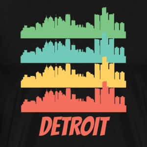 Retro Detroit MI Skyline Pop Art - Men's Premium T-Shirt