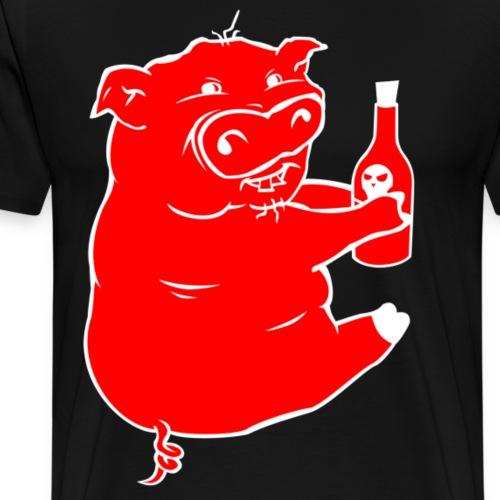Poison Pig - Red & White - Men's Premium T-Shirt
