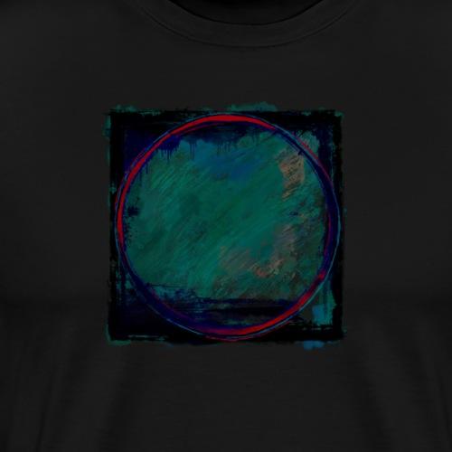 Dark Green and Blue Square Grunge Circle Design - Men's Premium T-Shirt