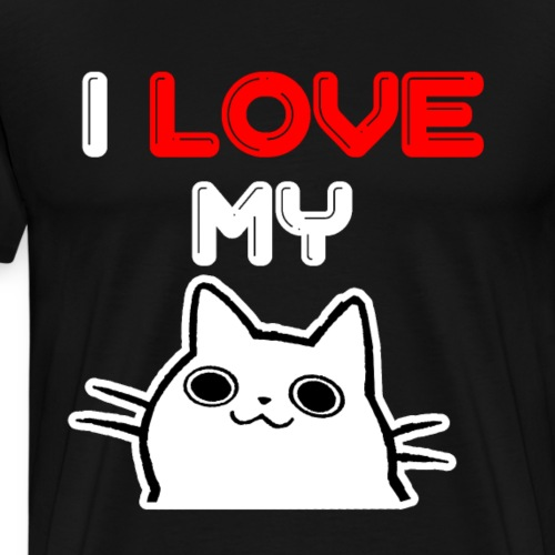 I Love My Cat shirt with a cute white kitty - Men's Premium T-Shirt