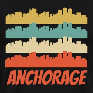 Retro Anchorage AK Skyline Pop Art - Men's Premium T-Shirt
