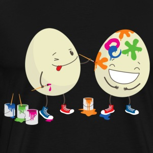 Happy Easter eggs decorating each other - Men's Premium T-Shirt