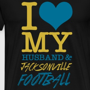 Football - i love my husband and jacksonville fo - Men's Premium T-Shirt