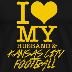 Kansas City Football - I Love My Husband & Kansa - Men's Premium T-Shirt