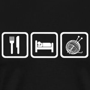 Knitting - Funny Eat Sleep Knitting Repea - Men's Premium T-Shirt