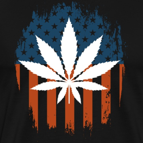 Pot Leaf American Flag - Men's Premium T-Shirt