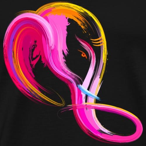Animal elephant head wildlife watercolor painting - Men's Premium T-Shirt