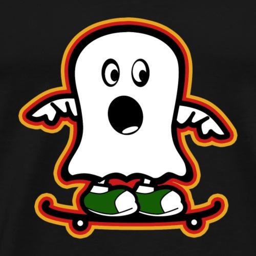 Funny Ghost on skateboard - Men's Premium T-Shirt