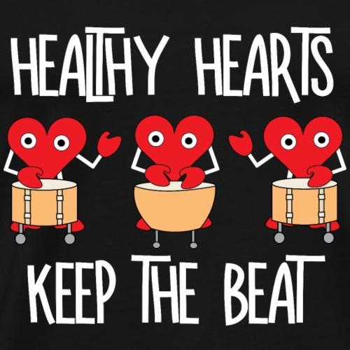 Healthy Hearts White Text - Men's Premium T-Shirt