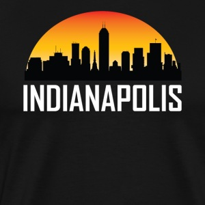 Sunset Skyline Silhouette of Indianapolis IN - Men's Premium T-Shirt
