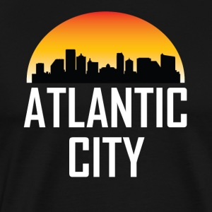 Sunset Skyline Silhouette of Atlantic City NJ - Men's Premium T-Shirt