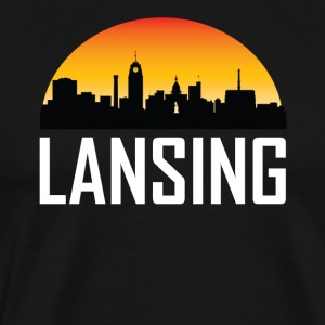 Sunset Skyline Silhouette of Lansing MI - Men's Premium T-Shirt
