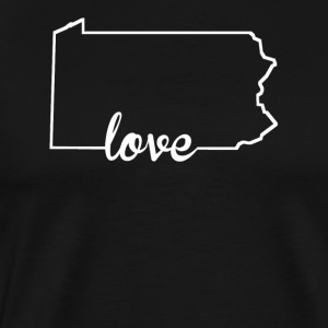 Pennsylvania Love State Outline - Men's Premium T-Shirt