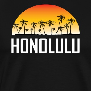 Honolulu Hawaii Sunset And Palm Trees Beach - Men's Premium T-Shirt