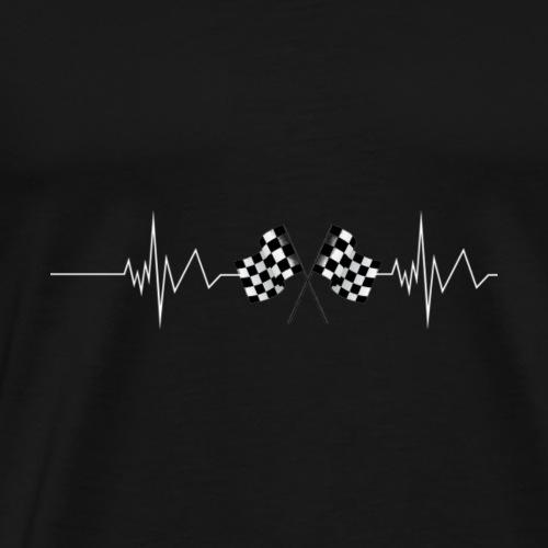 Racing Flag Checkered Flag Heartbeat - Men's Premium T-Shirt