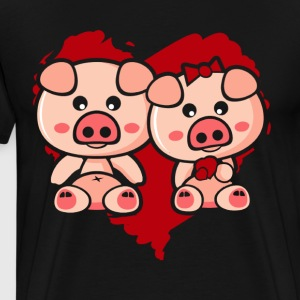 LOVE YOU CUTE PIGGIES ART TEE SHIRT - Men's Premium T-Shirt