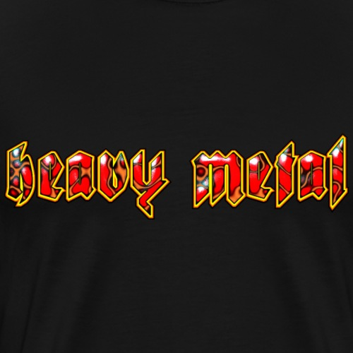 Heavy Metal Fire Lizard Logo Design - Men's Premium T-Shirt