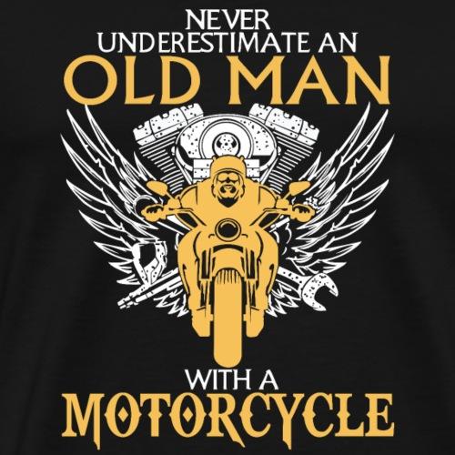 Old Man With Motorcyle - Men's Premium T-Shirt