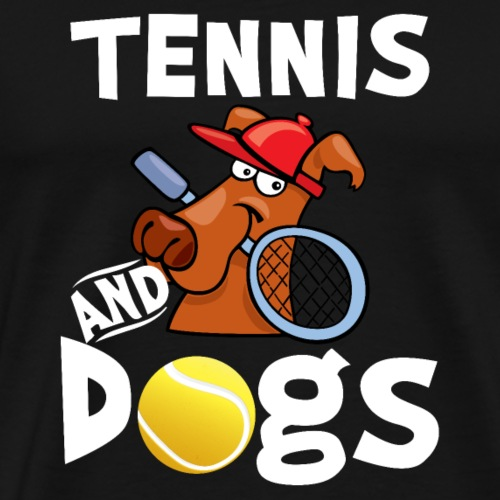 Tennis And Dogs Funny Sports Pets Animals Love - Men's Premium T-Shirt