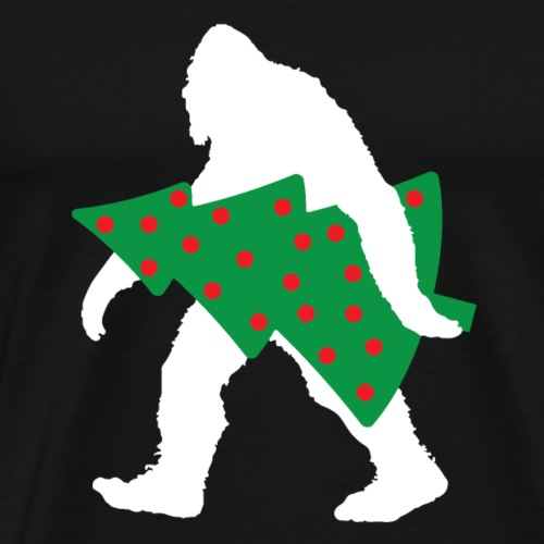 bigfoot with christmas tree funny shirt for a gift - Men's Premium T-Shirt
