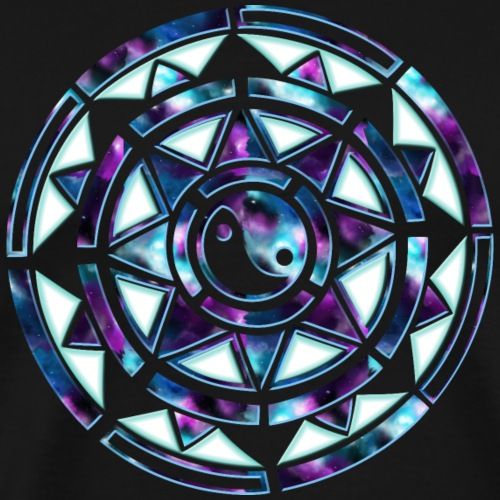 Galaxy sun wheel with star and yin and yang - Men's Premium T-Shirt